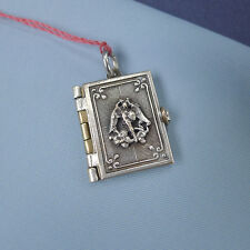 St Michael Locket Pendant Miniature Book / Medal Picture Photo Silver Plated