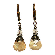 Golden Shadow Rhinestone Vintage Earrings with Crystal from Swarovski