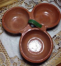 Mexican pottery dish - painted clay three cups for dips etc. - or use as planter