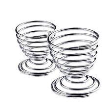 Kitchen Breakfast Hard Boiled Metal Egg Cup Spiral Spring Holder Egg Cup