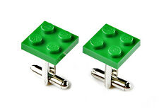 Green LEGO (R) Cufflinks - Business Gift - Unique Presents - Handmade - Gift Box