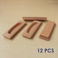 12 pcs wooden cabinet drawer handle concealed finger pulls unvarnished wood