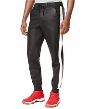 NEW Ring Of Fire Mens Faux Leather Drawstring Sport Jogger Pants XL Black $60