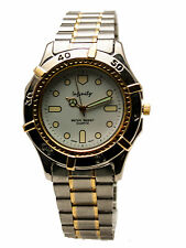 INFINITY:MENS' STAINLESS STEEL TWO TONE  METAL BAND ROUND ANALOGE QUARTZ  WATCH