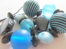 Blue & Black Necklace, Beautiful Design, Wood, Stone, Acrylic and Corded Beads