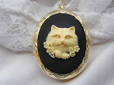 MOTHERS DAY CAMEO CAT KITTY BLACK & WHITE EASTER Cameo Pill Box Necklace Locket