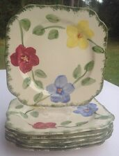 Blue Ridge Southern Pottery Flower Ring,Blue,Red, Yellow Flowers Square Plate