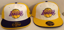 Los Angeles Lakers New Era 59FIFTY NBA Fitted Hat Lot/2 Different BOTH SIZE 7