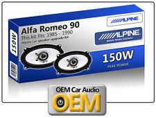 Alfa Romeo 90 Puerta Frontal oradores coche Alpine Altavoz Kit De 150 W De Potencia Max 4x6