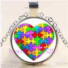 Autism Puzzle Heart Cabochon Glass Tibet Silver Chain Pendant Necklace