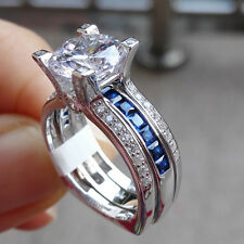 Round Blue White CZ 925 Sterling Silver Wedding Band Engagement Ring Sets Size 7