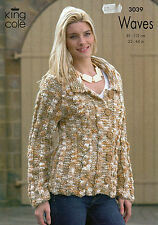 ~ King Cole Knitting Pattern For Lady's Jacket & Hooded Top To Knit ~