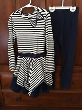 Kate Mack Girls Boutique Striped Dress And Leggings Size 10