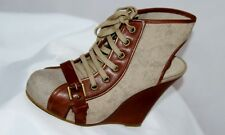 TopShop Beige Canvas Tan Leather Wedge Ankle Shoes Size 5