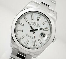 Rolex DATEJUST II 116300 Mens Steel Oyster White Stick Dial Smooth Bezel 41MM