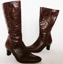 """Clarks """"K"""" Ladies chocolate brown leather winter mid calf boots/heels  size 4 E"""