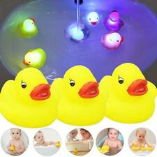 3 Lovely Yellow Duck Baby Kid Bath Squeaky Rubber Duck Colorful LED Light Toy TR