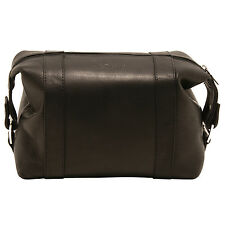 ASHWOOD - BLACK WASH BAG IN BUFFALO SMOOTH LEATHER