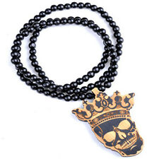 Skeleton King Hip-Hop Theme Wood  Necklaces Pendant Beads Chain Necklaces Gift