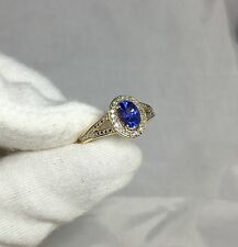 NATURAL Deep Blue Violet Tanzanite Diamond Gold Ring NEW 9k TOP GRADE