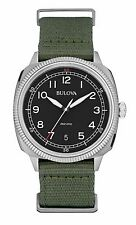 Bulova 96B229 Men's UHF Military Green Fabric Band Black Dial Analog Watch