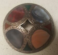 EARLY 19TH CENTURY SCOTTISH STERLING SILVER AGATE PEBBLE BROOCH PENDANT NR