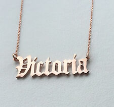 Personalised Old English Font Name Necklace,18K Rose Gold Plated ,Any name