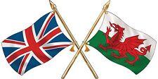Large Welsh / Union Jack Crossed Flags Sticker Truck Car Motorhome van