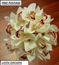 CYMBIDIUM ORCHID WEDDING FLOWERS WHITE CREAM LATEX REAL TOUCH BOUQUET POSY
