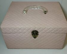 VINTAGE RETRO PINK QUILTED VINYL SEWING BOX