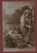 Young Woman Cart girl Basket Eggs Easter Greetings  vintage postcard st167