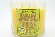 Bath body works BANANA NUTMEG BREAD PUDDING 14.5 OZ 3 WICK CANDLE