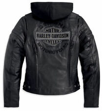 Harley Davidson GENUINE Miss Enthusiast Black Leather Jacket w/hoodie 3-in-1,NWT