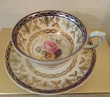 Vintage Cabinet Royal Grafton Cobalt Gold Trim Floral Rose Center Tea Cup Saucer
