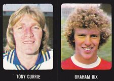 Uncut Football 79 80 Sticker, Nos 9 Graham Rix - Arsenal & 141 Leeds Tony Currie