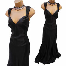 Karen Millen Black Satin Evening Wedding Long Ballgown Maxi Grecian Dress 14 UK