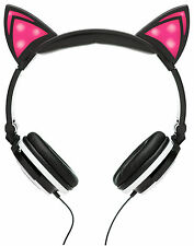 SoundBeast Cat Ear Headphones with Glowing Pink Lights - Over The Ear - Black