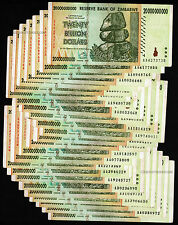 25 x 20 Billion Zimbabwe Dollars Bank Notes AA AB 2008 ¼ Bundle Pre 100 Trillion