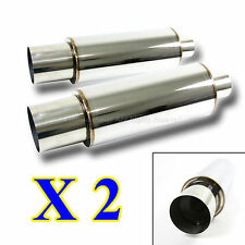"2X USA N1 STYLE DEEP TONE SPORT RACE CHROME STRAIGHT EXHAUST MUFFLER +4"" OUTLET"