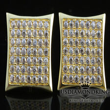 15MM BIG XXL MEN'S 10K 100% YELLOW GOLD STUD EARRINGS W/ SCREW BACKS KITE SQUARE