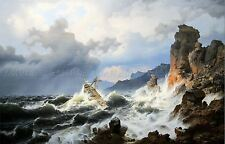 PAINTING SEASCAPE MARITIME ACHENBACH SEA STORM NORWAY COAST LARGE PRINT LF986