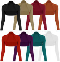 NEW LADIES WOMENS PLAIN LONG SLEEVE BOLERO SHRUG CROP CARDIGAN TOP 8 10 12