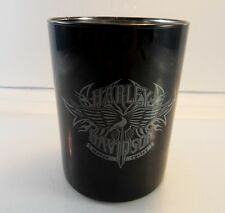 HARLEY DAVIDSON Motor Cycles Black Glass Drinking Cup