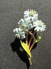 Vintage Enamel Bouquet Flower Pin Signed ART Floral Light Blue Metal