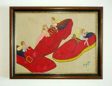 FAIRIES IN RED SHOES by IVAN BARON - British Fine Artist - 1980s oil on canvas