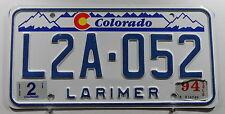 """USA Nummernschild Colorado """"LARIMER County"""" mit Grafik Typ Disigner. 11191."""