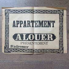 AFFICHE ANCIENNE 1810 APPARTEMENT A LOUER MAISON IMMOBILIER IMPRIMERIE