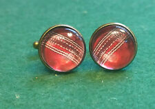 Vintage style Cricket ball Print Glass Domed Cufflinks, a Great gift idea