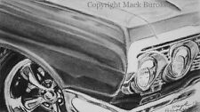 Original Charcoal Drawing Of A 1963 Chevy Impala Hot Rod Muscle Car Lowrider