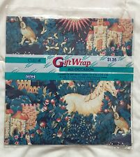 Cleo Unicorn Gift Wrap Bunny Rabbit Sun Fantasy All Occasion Wrapping Paper NOS